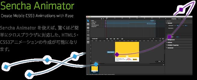 Sencha Animatorを使えば、驚くほど簡単にHTML5・CSS3アニメーションを作成できます。